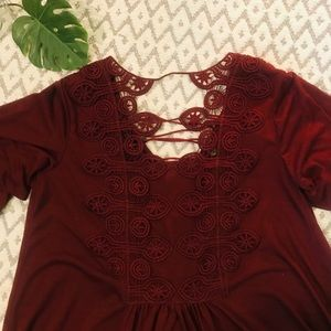 Tops - Boho Chic maroon lace up front, crochet back top🌸